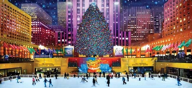 The Ice Rink at Christmas-NYC Rockefeller Center - Metro Limousine Service